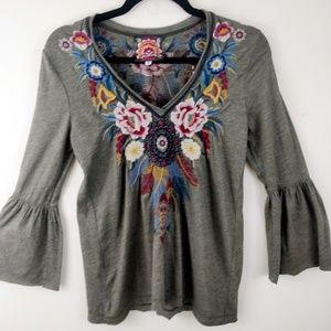 Johnny Was Olive Embroidered Bell Sleeve Blouse